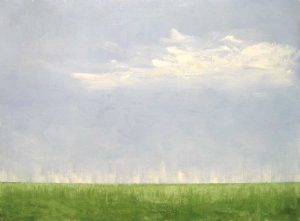 Leah Mitchell Green Marsh Grass Painting with Blue Sky on Canvas