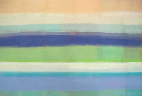 Ellen Hermanos Abstract painting with colorful horizontal lines in pastel tones of blue and green
