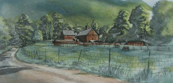 Kathleen Cantin - Horse Farm (7x14 etching on paper)