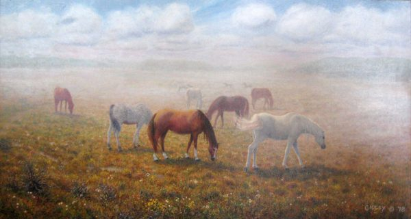 Phil Gidley Painting on Canvas of Wild Horses Grazing in the Mist
