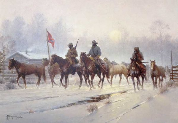 G Harvey - Horses of the Confederacy print of civil war soldiers on horses in winter