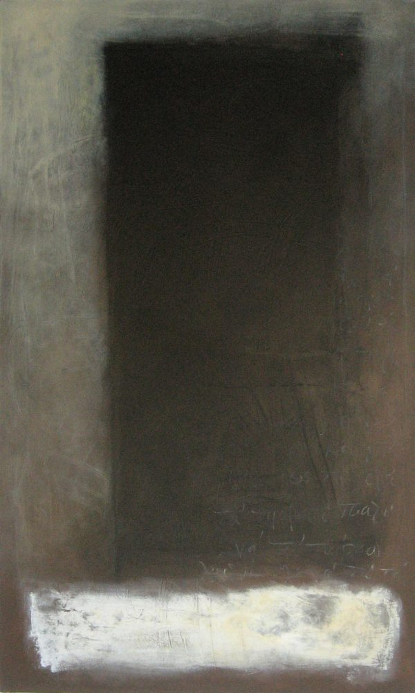 Abstract painting with a deep black rectangle fading to grey