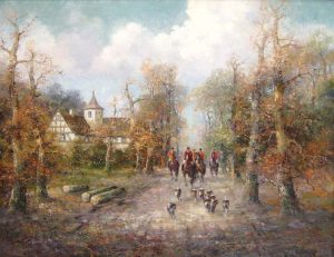 Willi Bauer Tradition painting of a hunting team riding down a street