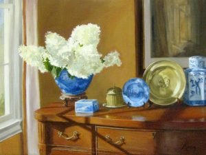 Mary Mabry Oil on Canvas Painting of White Hydrangea Flowers in Blue Ginger Jar on Traditional Wood Furniture