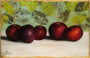 Jeanette Staley - Hyslop Heirloom Apples - Painting of dark red apples