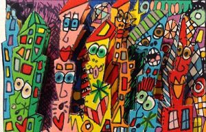 James Rizzi - I Think I Have to Move print of colorful city buildings with faces