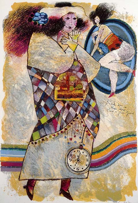 Theo Tobiasse - Je Marche dans le Temps Perdus judaica print of woman with clock and woman in blue circle