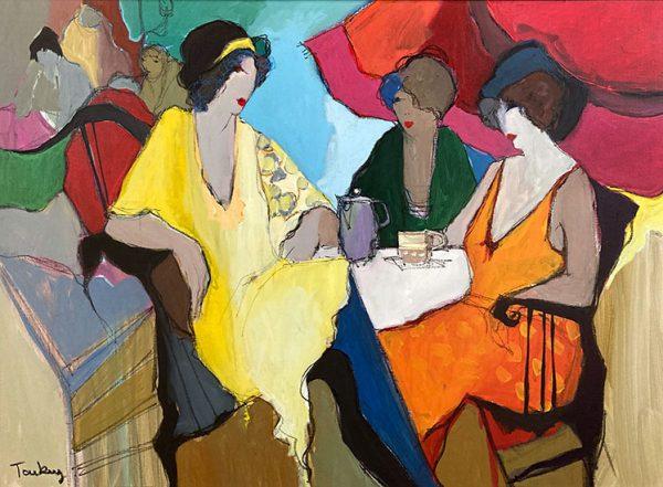 Itzchak Tarkay acrylic - oil painting of women having tea together