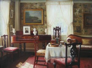 S.H. Lee Traditional Oil Painting of Victorian Parlor with Piano