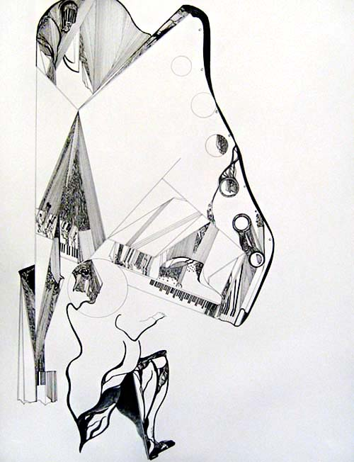 Gary Smith - Icarus Rising - Abstract drawing of a pianist