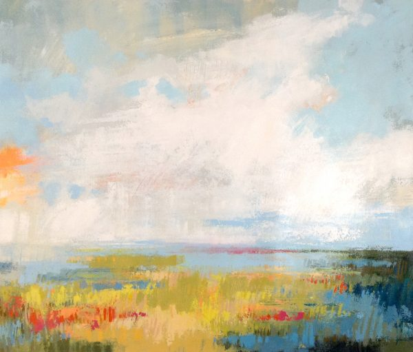 Carlyn Janus Oil Painting on Canvas of Abstract Blue Yellow Red Contemporary Landscape