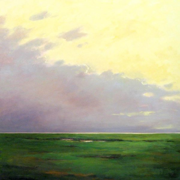 Mary Nolan Bold Seascape Horizon with Green Marsh and Purple Clouds