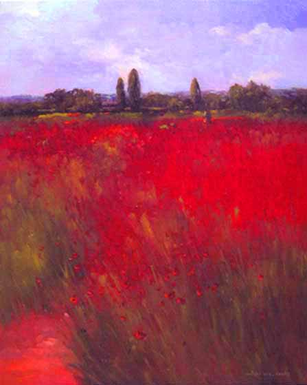 Monique Sakellarios painting In Love With Poppies II red field (30x24 oil on canvas)