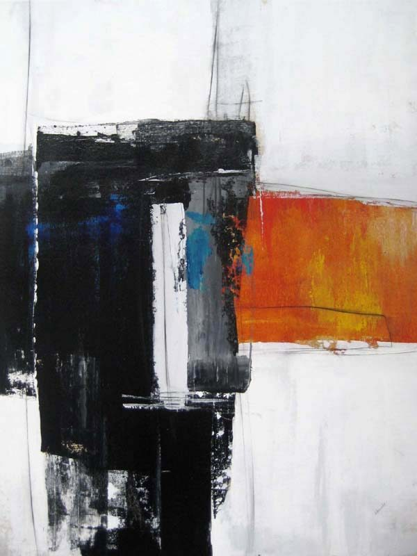 Sydney Edmunds Contemporary Abstract Oil Painting of Orange