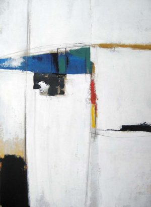 Sydney Edmunds Contemporary Abstract Oil on Canvas in White Blue Red Black yellow