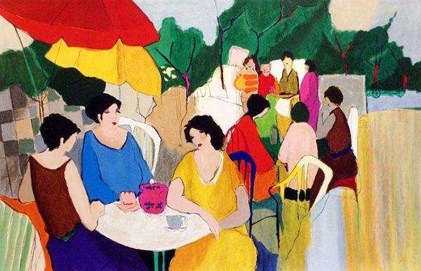 Itzchak Tarkay - In the Garden print of ladies having tea outside
