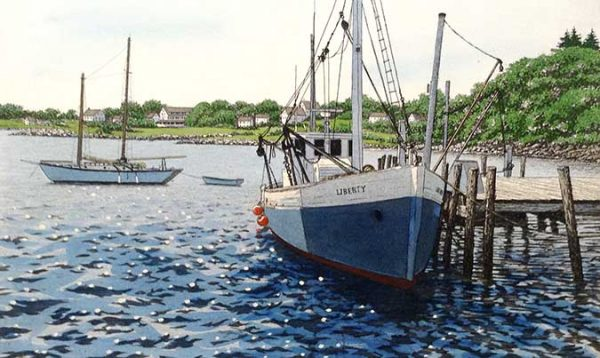 Carol Collette etching on paper blue green white boat in the harbor dock ocean port