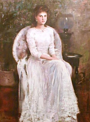 Hans Amis An He In the Living Room painting of girl in white lace dress seated for portrait
