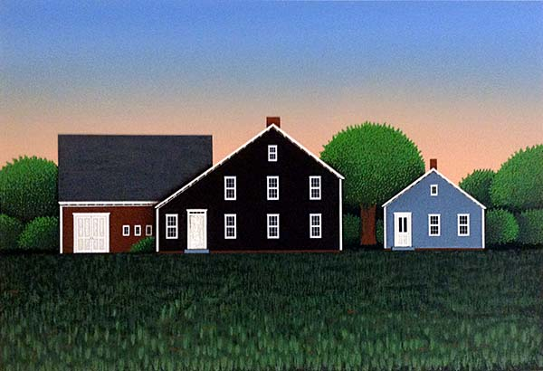 Ted Jeremenko - In the Valley print of houses with big yard at dusk or dawn