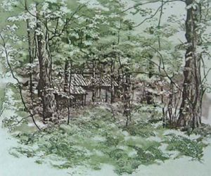 Kathleen Cantin - In the Woods etching of little cabin among trees
