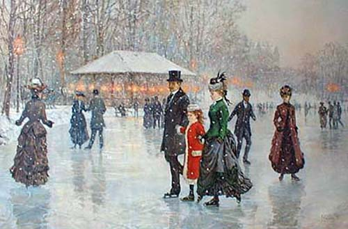 Alan Maley - In Harmony litho of people at turn of the century skating on ice