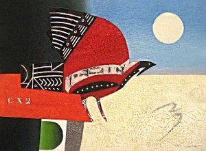 Max Papart - Inca Bird (23x30 carborundum etching) - Contemporary etching of a bird