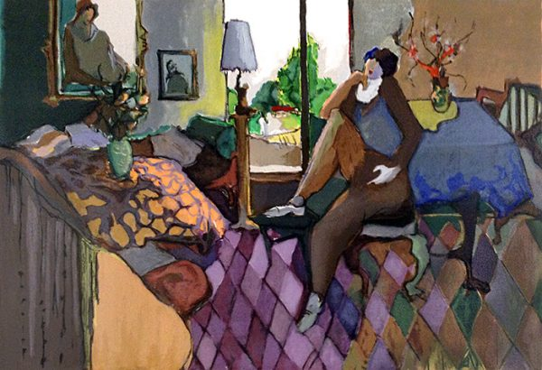 Itzchak Tarkay - Interior - Colorful serigraph of a woman sitting in an eclectic interior space