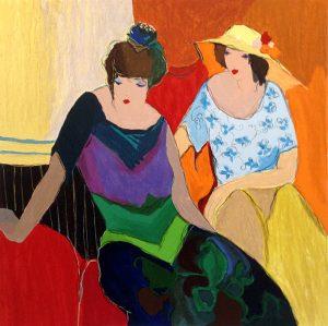 Itzchak Tarkay - Intimacy print of two women sitting together
