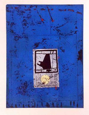 James Coignard Introduction sur Bleu carborundum etching on handmade paper abstract shape on blue