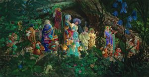 James Christensen - Royal Processional print of fairytale characters walking through a forest