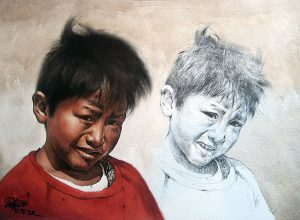 Luis Pantigozo - Jacinto watercolor painting of young boy