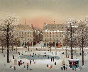 Michel Delacroix - Jardin de Tuillerie print of skating pond in Paris during winter
