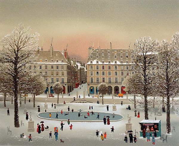 Michel Delacroix - Jardin de Tuillerie print of skating pond in Paris during winter