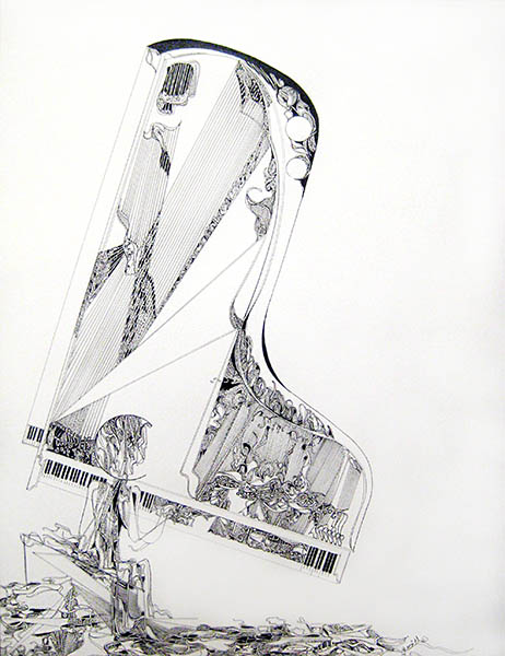 Gary Smith Pen and Ink on Paper of Abstract Stylized Baby Grand Piano Player