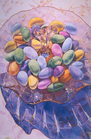 Irena Roman Pastel Colored Contemporary Watercolor Still Life of Jordan Almond Candies