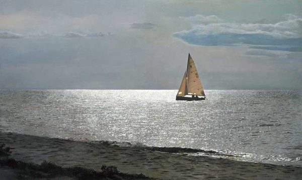 Robert Bolster Traditional Realist Painting of a Sailboat on the Ocean Shore