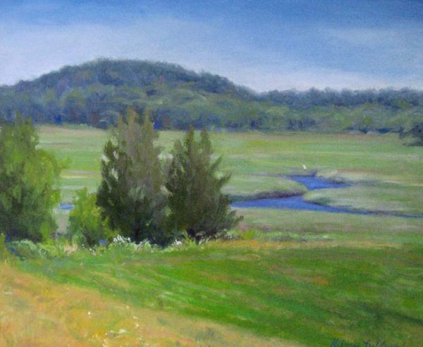Hilary Baldwin Traditional Oil Painting of a green marsh with mountains
