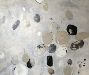 Jodi Maas Contemporary Abstract Oil Painting of Beige Black White Gray Circles