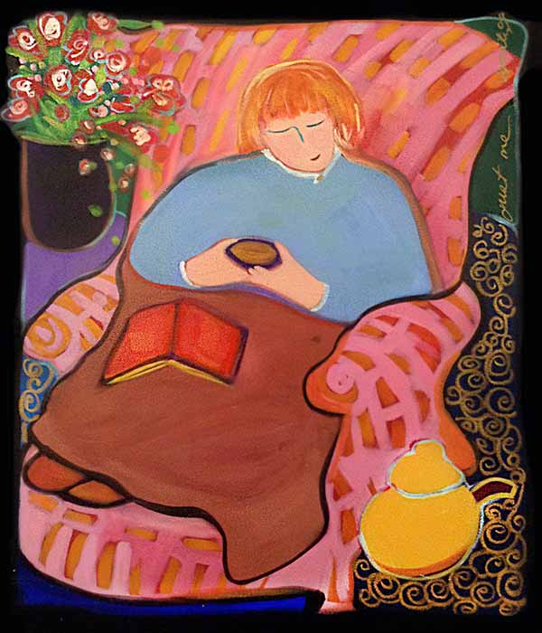 Katherine Porter colorful whimsical painting of woman reading a book in a chair under a blanket
