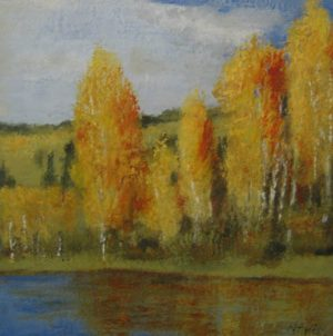 Kathleen Reilly KDR02 - Spirit Meadow - Painting of orange trees by water