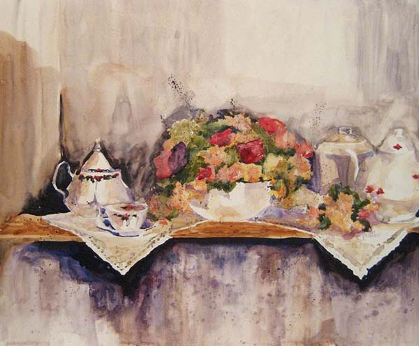 Pat Foster Kettle with Wild Flowers still life watercolor (15x18 watercolor floral painting on paper)