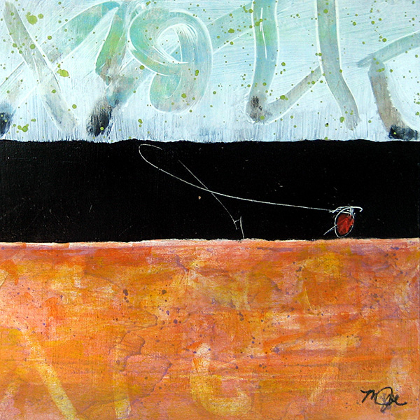 Mamie Joe Rayburn Abstract Oil Painting on Board with Orange and White and Black