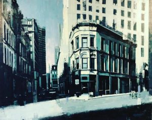 Kevin Kusiolek Contemporary Boston Street Scene in Blue Black White and Gray