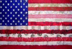 Connie Kolman Artisan Glass American Flag Collage Red White Blue