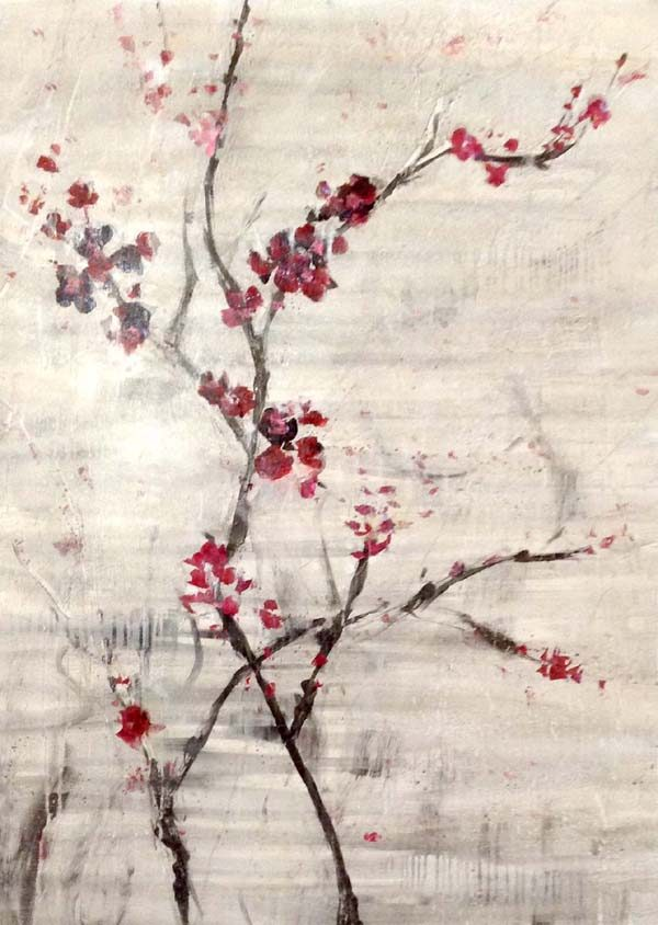 Jodi Maas Contemporary Floral Raspberry Red Cranberry Flower Blossoms on Gray with Black Branches