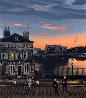 Michel Delacroix - L'Octroi print of girl skipping rope outside a house with two military officers at dusk
