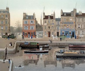 Michel Delacroix - La Belle Du Jour print of boats in a canal in France