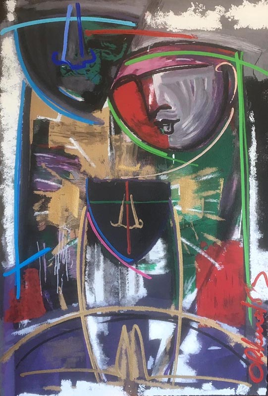Orlando Agudelo Botero - La Familia IV (60x45 embellished serigraph) primal abstract expressionist painting of a family in red black and green colors