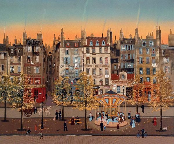 Michel Delacroix - La Monege Sur Le Boulevard print of carousel in front of neighborhood with people
