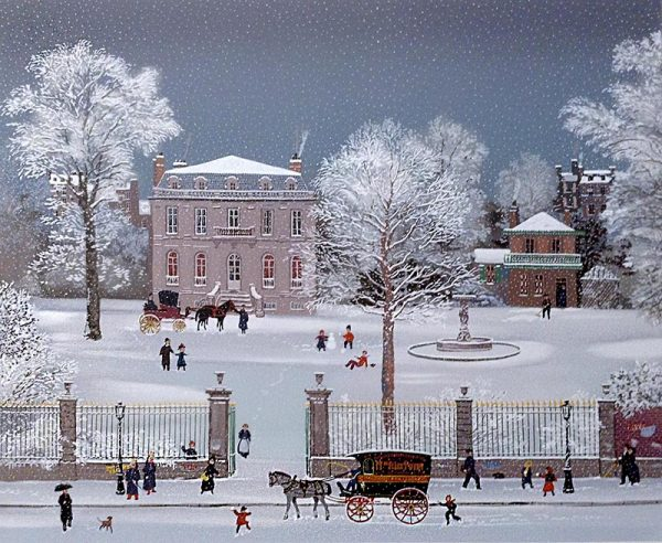 Michel Delacroix - La Villa Rossini print of stately home during winter with people and horse drawn carriage